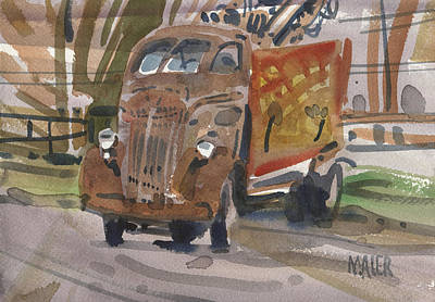 Roadside Painting - Old Wrecker by Donald Maier