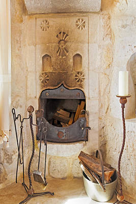 Olde Worlde Fireplace In A Cave  Art Print by Kantilal Patel
