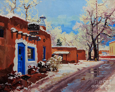 Winter Landscapes Painting - Oldest Adobe House  by Gary Kim