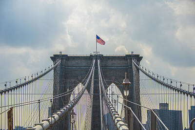 Photograph - Ole Glory Over Brooklyn Bridge by Theodore Jones