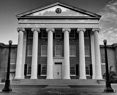 Photograph - Ole Miss Lyceum Black And White by Joshua House