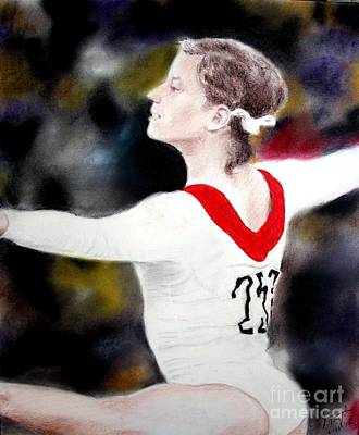 40th Anniversary Drawing - Olga Korbut Performing At The 1972 Summer Olympics In Munich by Jim Fitzpatrick