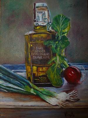 Olive Oil With Onions And Radish Art Print by Virgilla Lammons