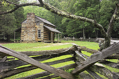 Log Cabin Art Photograph - Oliver Cabin In Cade's Cove by Randall Nyhof