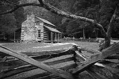 Split Rail Fence Photograph - Oliver's Cabin In The Great Smokey Mountains by Randall Nyhof