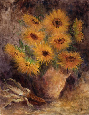 Painting - Olla With Sunflowers by Rene Hart