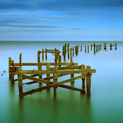 Ols Swanage Pier Art Print by Mark Leader
