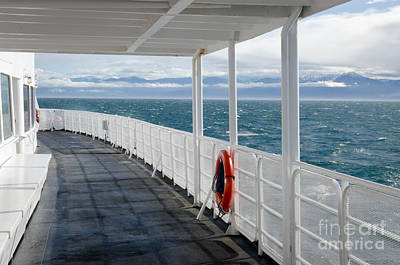 Usa Photograph - Olympic Deck M V Coho Deck View Of Olympic Mountains by Andy Smy