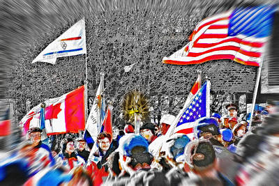 Canadian Sports Mixed Media - Olympic Torch Rally Snapshot - Slc 2002 by Steve Ohlsen