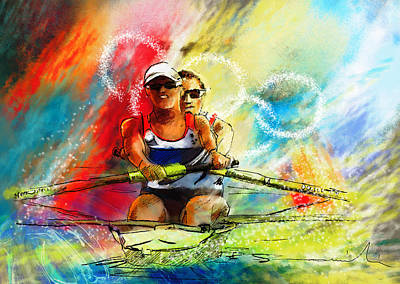 Sports Paintings - Olympics Rowing 03 by Miki De Goodaboom