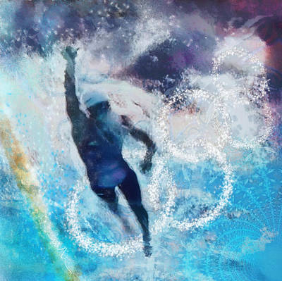 Sports Paintings - Olympics Swimming 01 by Miki De Goodaboom