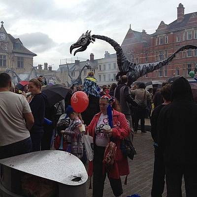 Dragon Photograph - #olympictorch Peterborough Celebrations by Cathy Truelove