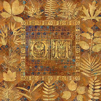 Brass Leafs Digital Art - Om Brass With Leaves by Susan Ragsdale