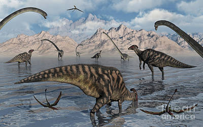 Aquatic Digital Art - Omeisaurus And Parasaurolphus Dinosaurs by Mark Stevenson