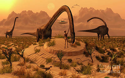 Extraterrestrial Existence Digital Art - Omeisaurus Dinosaurs Communicating by Mark Stevenson