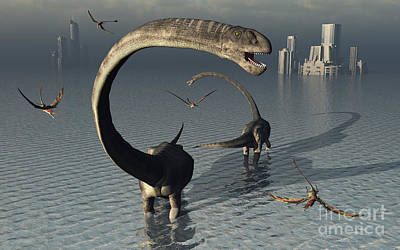Bass Digital Art - Omeisaurus Sauropod Dinosaurs Cooling by Mark Stevenson