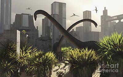 Searching Digital Art - Omeisaurus Sauropods Explore by Mark Stevenson
