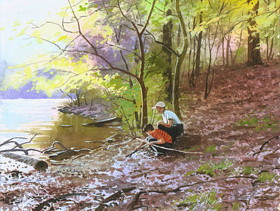 Painting - On A Lake by Sergey Zhiboedov