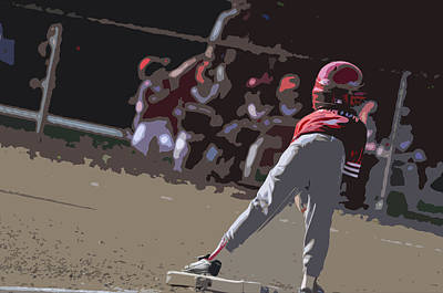 Athletic Digital Art - On Base by Peter  McIntosh