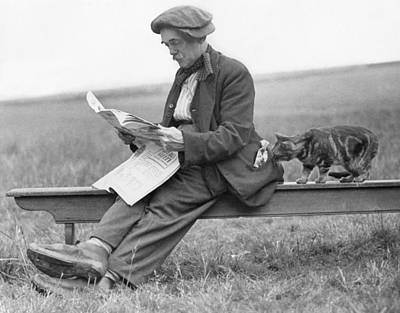 On Bench With Cat Art Print by Hulton Collection