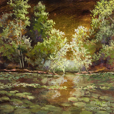 Painting - On Golden Pond With Gold Leaf By Vic Mastis by Vic  Mastis