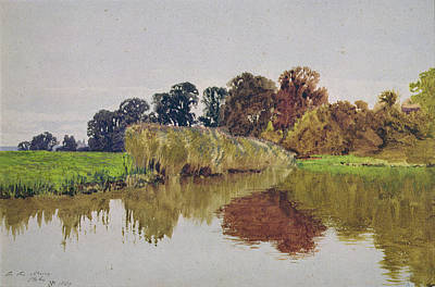 Stoke Painting - On The Arun Stoke Sussex  by George Vicat Cole