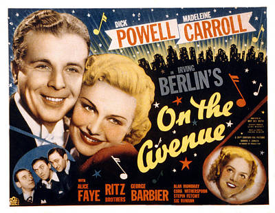 1937 Movies Photograph - On The Avenue, Dick Powell, Madeleine by Everett