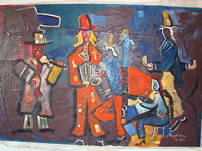 Violine Painting - On  The Corner by Milan Nikolcin