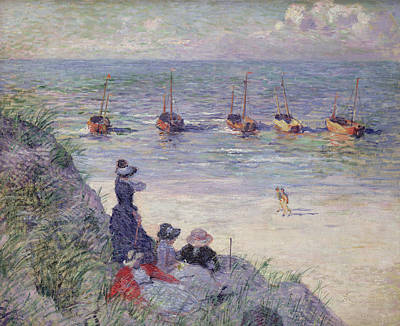 Rocky Beach Painting - On The Dunes by Theo van Rysselberghe