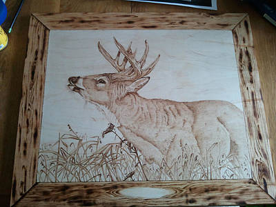 Pyrography Pyrography - On The Hunt Whitetail Buck by Angel Abbs-Portice