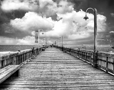 Photograph - On The Pier At Tybee-bw by Tammy Wetzel