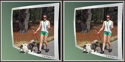 Dog Walking Digital Art - On The Trail - Gently Cross Your Eyes And Focus On The Middle Image That Appears by Brian Wallace