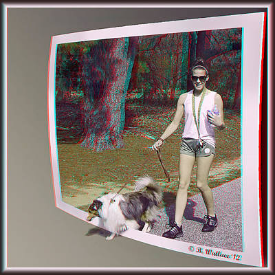 Miniature Collie Photograph - On The Trail - Red-cyan 3d Glasses Required by Brian Wallace