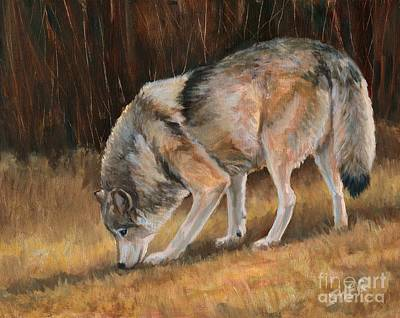 Art Print featuring the painting On The Trail - Wolf by Sheri Gordon