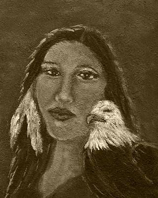 Onawa Native American Woman Of Wisdom With Eagle In Sepia Art Print by The Art With A Heart By Charlotte Phillips
