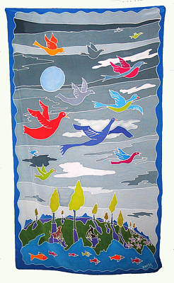 Silk Wall-hanging Painting - Once In A Blue Moon by Rollin Kocsis