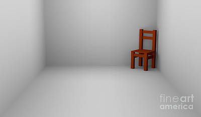 Digital Art - One Chair In Empty Room by Igor Kislev