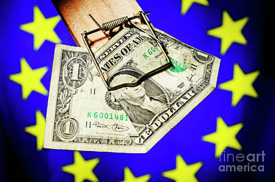 On Paper Photograph - One Dollar Bill In Mousetrap On European Union Flag by Sami Sarkis