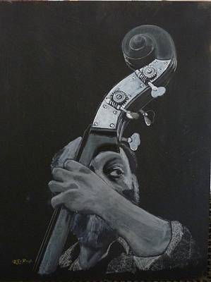 Painting - One Eye Bass Player by Richard Le Page