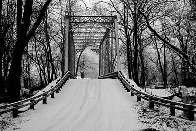 One Lane Bridge In Snow Art Print