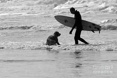 Photograph - One Surfer And His Dog by Brian Roscorla
