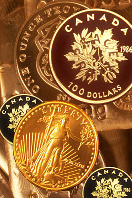 One Troy Ounce Us And Canadian Gold Coins Art Print by Lyle Leduc