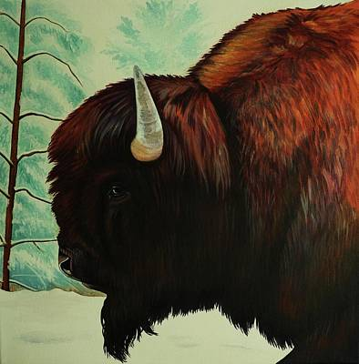 One Wet Bison Art Print by Lucy Deane