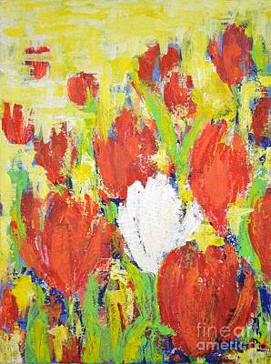 Art Print featuring the painting One White Tulip by Kathleen Pio