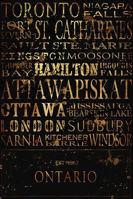 Ontario Typography Art Print by Tanya Harrison
