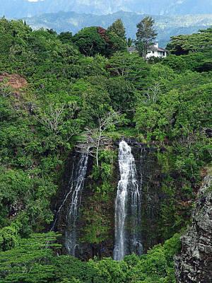 Photograph - Opaekaa Falls Kauai Verticle 1 by Ken Smith