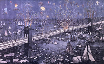 Brooklyn Bridge Painting - Opening Of The Great New York And Brooklyn Bridge And Grand Display Of Fire Works by American School