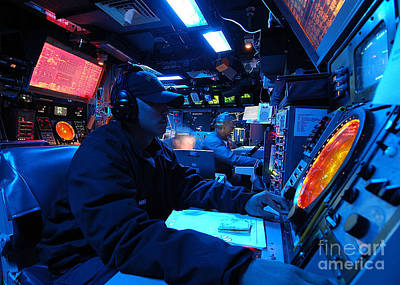 Control Center Photograph - Operations Specialist Stands Watch by Stocktrek Images