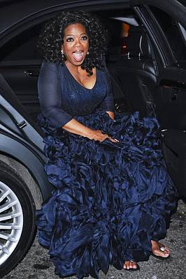 Celebrity Candids - Monday Photograph - Oprah Winfrey Wearing Navy Silk-organza by Everett