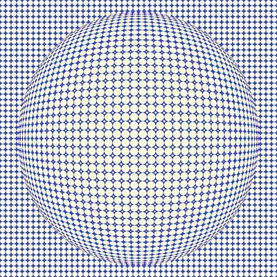 Circular Painting - Optical Illusion Blue Yellow Ball by Sumit Mehndiratta